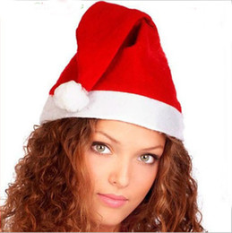 Wholesale Thick Plush - New Arrival Christmas Cosplay Hats Kids And Cute Adults Thick Ultra Soft Plush Santa Claus Christmas Cap Christmas Supplies Fast Shipping