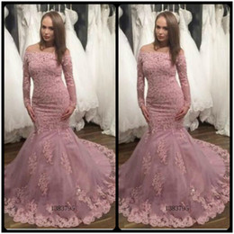 Wholesale Maternity Dresses For Special Occasions - Gorgeous Mermaid Lace Appliques Prom Dress 2017 Off the Shoulder Beaded Long Sleeve Prom Gowns For Special Occasion Dresses