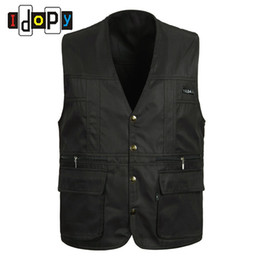 Wholesale Mens Vest Wholesale - Wholesale- 100% Cotton Summer mens Suit Sleeveless Working For Men Outdoors Casual Multipocket Waistcoat Men Vest Photography Jacket