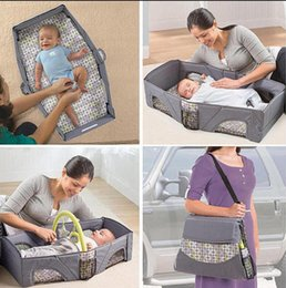 Wholesale Folding Cribs - baby travel bed foldable cot sleeping basket folding playpen crib babybed cradle for babies Bassinet Safety Mommy Bag KKA2477