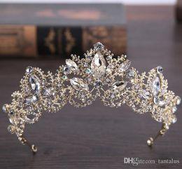 Tipos coroas de tiaras on-line-Liga de coroa de noiva acessórios para o cabelo do casamento de casamento headdres tipo de jóias strass noiva tiara Luxuosamente colorido de ouro incrustada AB broca