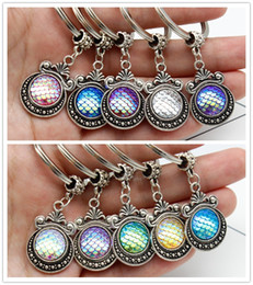 Wholesale Mermaid Men - Fashion Vintage 10 COLORS Mermaid Key Rings Fish Scale Charms Keychain Car Keyring Jewelry For women Men Gift ACC
