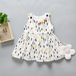 Wholesale Newborn Baby Dress Clothes - baby dresses newborn babies rain dots cute dress toddler sundress with colorful tassel balls infant child boutique clothing