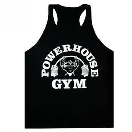 Wholesale Men S Tank Top Wholesale - Wholesale- Fashion POWERHOUSE Tank Top Men Sleeveless Shirt Bodybuilding Fitness Men\\\'s Cotton Singlets O-neck H-back vest