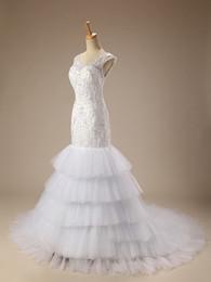 Wholesale Beaded Silk Skirt - Custom Made Elegant V Neck Backless Ruffles Lace Appliques Beaded Mermaid Court Train Romantic Elegant Wedding Dress