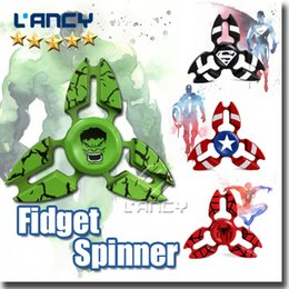 Wholesale Toy Bear Wholesalers - Newest Spider Man Superman Captain America Fidget Hand Spinner Stress Spinner alloy Metal Ball Bearing For ADD ADHD Anxiety With Retail Box