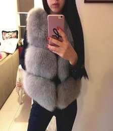 Wholesale Short Orange Fur Jacket - high quality Fashion Winter Women PU Faux Fox Fur Thick Waistcoat Sleeveless Jackets Coat Warm Slim Vest Outcoat Free Shipping