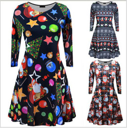 tutu dresses adults Coupons - Adult Christmas tree printing Dresses Christmas long sleeve dress print Xmas costume Women Santa Claus dress Maternity Clothing XT