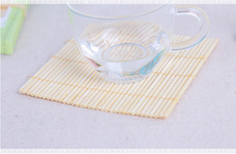 Wholesale bamboo cup mat - Natural Bamboo Cup Mat Square Eco Friendly Bamboo Coasters Table Mat Bamboo Cup Pads Wedding Decoration And Favour Gifts Supply 4pcs set