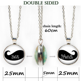 Wholesale Mustache Jewelry Rhinestone - Best Friends double side Necklace Mustache Pendant Best-Friends Jewelry Gift-Birthday-Friend-Mustache-2 best friend necklace