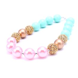 Wholesale Candy Jewelry For Kids - MSH.SUN Handmade jewelry Candy color Bubblegum necklace for Girls Cute Kids chunky beads necklace Baby infant jewelry BN017