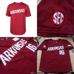 Wholesale Maroon Yellow - Baseball Arkansas Razorbacks College Jerseys 16 Andrew Benintendi Jersey Home Maroon Red