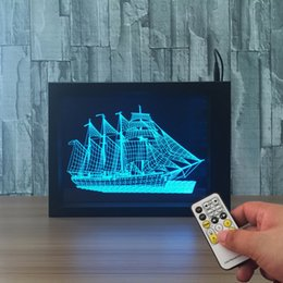 Wholesale Boats Frames - 3D Boat LED Photo Frame IR Remote 7 RGB Lights AAA Battery or DC 5V Factory Wholesale Dropship Free Shipping