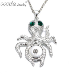Wholesale Octopus Pendant Necklace - New Arrival 24pcs lot 6 styles octopus pendant necklaces for women with snake chain fit 18mm snap button jewelry DZ0226