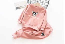 Wholesale Dog Girl Clothing - 2017 Autumn Winter New Girls Clothing Sets Velvet cartoon Dog embroidery Sports Outfits Children Clothes 3-7Y 101