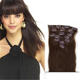 Extensiones de pelo de clip doble online-Clip de doble trama en extensiones de cabello humano # 4 Clip de cabello humano en extensiones de cabello envío gratis
