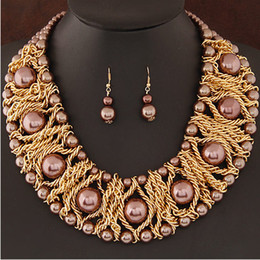 Wholesale African Beaded Earrings - Boutique Jewelry Sets For Women Gold Plated African Beads Jewelry Set Party Accessories Necklace Earrings Set Wholesale