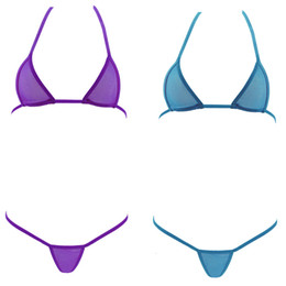 Wholesale Blue Pink Swimsuit - NEW Women hot sexy mini micro bikini swimwear set bandage europan triangle transparent tiny swimsuit beachwear bra + g-strings thongs