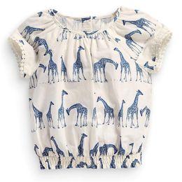 Wholesale Giraffe T Shirt Girls - Girls Flower Novelty T-shirt Newest Baby Giraffe Short Tee Shirt 100% Cotton High Quality Kids Clothes 2017 New Summer Tops &Tees