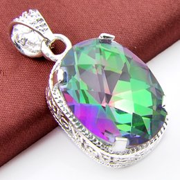 Wholesale Gemstone Pendant 925 Silver - 2017 fishion Jewelry Top Quality Luckyshine 2pcs Lot Colored Mystic Topaz Gemstone 925 Silver Pendant Trendy Weddings Jewelry Gift