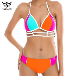 d998f6f581101 halter cut out swimsuits Canada - Sexy Bikinis Swimwear Bandage Push Up  Bikini Set Patchwork Halter