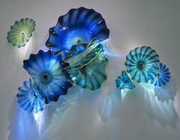 Wholesale Glass Art Wall Hangings - 100% Hand Blown Murano Glass Hanging Plates Wall Art Dale Chihuly Style Borosilicate Glass Art Hand Blown Blue Glass Flower Wall Art Plates
