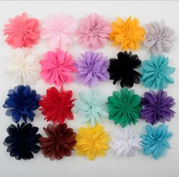 Wholesale Solid Hairbows - Hair Accessories Layer Chiffon Fabric Flower Baby Hairbows Hair Accessories Free Shipping YH607