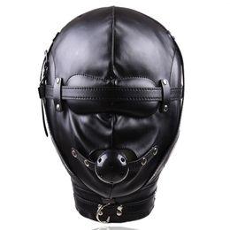 kugelhaube bdsm Rabatt Bondage Sex Toys Kopfbedeckungen Mit Mund Ballknebel BDSM Erotische Leder Sex Hood Für Männer Erotikspiele Sex SM Maske Für Paare