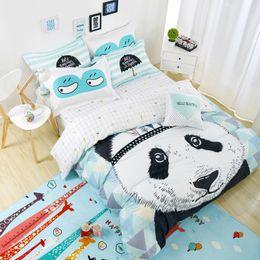 Wholesale Kids Duvet Covers Full - Wholesale- Lovely Panda Bedding set Black and White Duvet Cover Cartoon for children kids Queen King 4pcs Bedclothes bed linen bed sheet