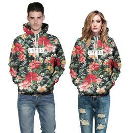 Wholesale Tracksuit Women Flowers - Fashion Men women Hoodies With Cap Print Red Flowers Green Leaves 3d Hooded Sweatshirts Hoody Tracksuit plus size 6XL