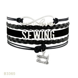 Wholesale Sewing Charms Wholesale - (10 Pieces Lot) Infinty Love Sewing Sewing Machine Charm Bracelet Suede Leather Black White Purple Bracelet Any Themes Drop Shipping
