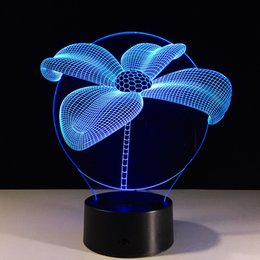 Wholesale 3d Flowers Cartoons - 2017 3D Lotus Flower Optical Illusion Lamp Night Light 7 RGB Lights DC 5V USB Charging AA Battery Free Shipping