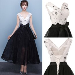 Wholesale Corset Full Length Prom Dress - 2017 White And Black Elegant Tea Length Full Lace Prom Dresses Bateau Neck Cap Sleeves Corset Back Pearls A-line Party Gowns with Bow