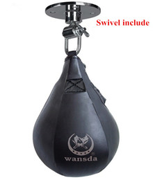 Wholesale Training Boxeo - Double End Muay Thai Boxing Punching Bag Speed Ball Pear Punch Training Fitness saco de da boxeo (With hanging)