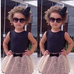 Wholesale Summer Baby Skirt Top - Wholesale- New Fashion Baby Girls Clothes 2016 Kids Girls Vest Top and Leopard Mesh Gown Tutu Skirt 2pcs Summer Dress Outfit Girls Sets