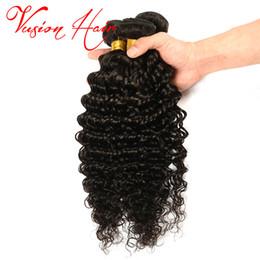 Wholesale Good Virgin Curly Weave - Brazilian Deep Wave Virgin Hair One Bundle 100g Pack Unprocesed Brazilian Hair Weaves Deep Curly Good Quality Cheap Weaves Natural Black