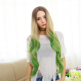 Wholesale Long Curly Beautiful Wigs - Ms mixed color green golden Cosplay synthetic hair wigs Capless Synthetic Hair Mixed Color Long Curly Hair Wig White women beautiful fashion
