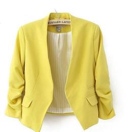 Wholesale Suit Jacket Women Designs - Wholesale- 2016 New Autumn short jackets Candy Color Women outwear Spring Slim Short Design Suit Coat S M L XL Free Shipping