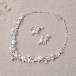 Wholesale Trendy Suits - Beauty Silver Flower Bridal Necklace Earring Suits 2 pieces Jewelry Suits Wedding Bridal Jewelry P419014