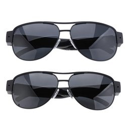 Wholesale Spy Video Audio Recording - HD 720P Mini Hidden Spy Cameras Sunglasses Camera Metal Frame Glasses Eyewear Video Recorder Mini Sports DVR Digital Audio Recording