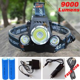 Wholesale T6 Led Head Light - 9000Lm CREE XML T6+2R5 LED Headlight Headlamp Head Lamp Light 4-mode torch +2x18650 battery+EU US Car charger for fishing Lights