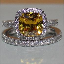 Ensemble bijoux en topaze jaune en Ligne-La mode 3ct princesse-coupe jaune pierres précieuses topazes anneaux set 2-en-1 bijoux en diamant 925 argent sterling bague de fiançailles mariage bague pour femmes