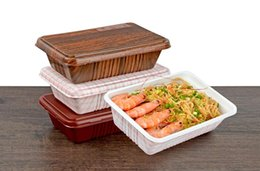 Wholesale Food Tray Holder - 800ml disposable food packing tray wood grain lunch box Japanese sushi holder tray simple meal packing carrier with cover