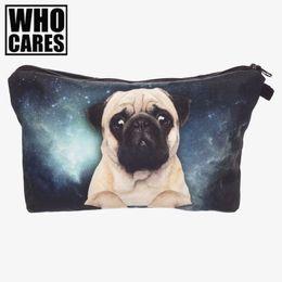 Wholesale Galaxy Print Bags - Wholesale- Galaxy pug 3D Printing cosmetic bag women makeup bag 2016 fashion pencil case trousse de maquillage pencil bags necessaire bags