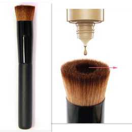 Wholesale professional makeup brushes black - High quality Large Flat Professional Perfecting Face Brush Multipurpose Liquid Foundation Brush Premium Premium Face Makeup Brush DHL Free