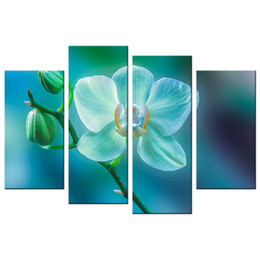 Wholesale Flowers Contemporary - Charming Orchid Picture Giclee Print Contemporary Floral Photography Printed Canvas Artwork Flower Canvas Painting for Decoration