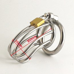 Wholesale Cages For Cocks - New chastity belt male chastity device with big urethral outlet easy to pee 80mm chastity cage stainless steel cock cages for bdsm