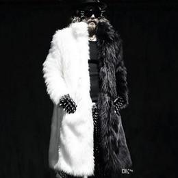 Wholesale Plus Size Mink Coats - Mens Winter Long Coats Fox Fur Manmade Mink Fur Jackets Casual Overcoats Male Plus Size Outwears plus size 5XL free shipping