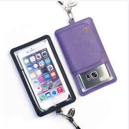 Wholesale Leather Card Case Lanyard - Universal Phone Bag For Iphone 7 6 6s Plus Samsung J5 J7 PU Leather Phone Bag With Lanyards 4 to 6 inch Retailpackage
