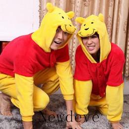 Wholesale Pooh Kigurumi Pajamas - Little Winnie The Pooh Kigurumi Pajamas Animal Cosplay Wear Outfit Halloween Costume Adult Garment Cartoon Jumpsuits Unisex Animal Sleepwear